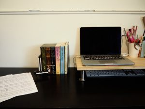 Laptop, Desk, books