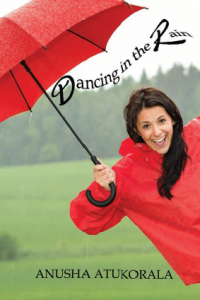 Smiling lady with red umbrella