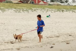 An older boy running with a dog on a leash at a beach